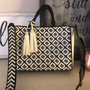 EUC Tory Burch Robinson WovenQuilted Small Satchel
